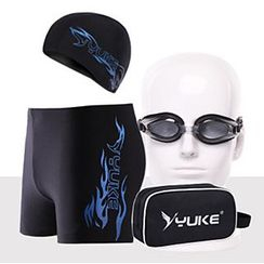 Sunset Hours - Set: Swim Cap + Swim Shorts + Swim Goggles + Ear Plugs + Nose Clip + Pouch
