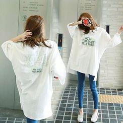 Au Naturel - Lettering 3/4-Sleeve T-Shirt Tunic