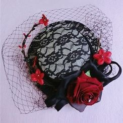 First Impression - Corsage Clip Hat with Veil Headpiece
