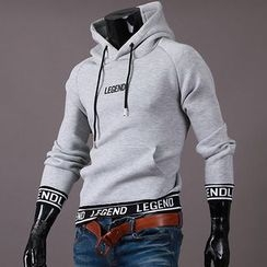 Seoul Homme - Contrasted Lettering-Trim Hoodie