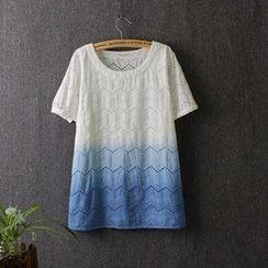 Blue Rose - Short-Sleeve Gradient T-Shirt