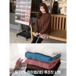 hellopeco - Dip-Back Wool Blend Knit Top