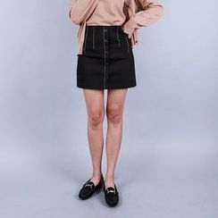 Vintage Vender - Button-Front Stitched Mini Skirt