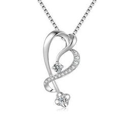 MaBelle - 18K/750 White Gold Diamond Accented Heart Shaped Pendant (0.19 cttw) (FREE 925 Silver Box Chain)