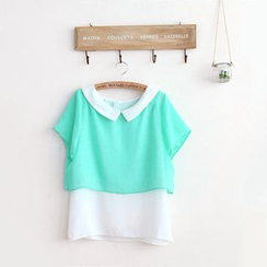 11.STREET - Colour Block Collared Chiffon Top