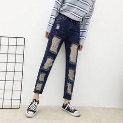 HL哈喽妹妹 - 仿旧直筒牛仔裤