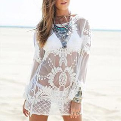 Champi - Bell-Sleeve Mesh Cover-up