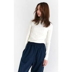 Someday, if - Mock-Neck Rib-Knit Top