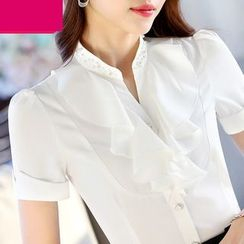 Eferu - V-neck Short-Sleeve Chiffon Blouse