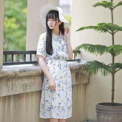 Moricode - Floral Print Short-Sleeve Chiffon Dress