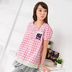 59 Seconds - Short-Sleeve Horse Embroidered Gingham Top