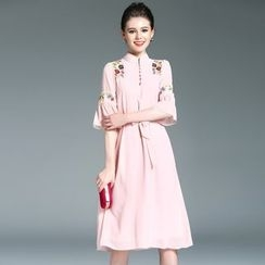 Elabo - Floral Embroidered Bell-Sleeve A-Line Dress