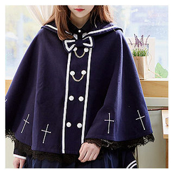 Sechuna - Sailor-Collar Embroidered Cape Jacket