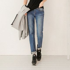 Seoul Fashion - Washed Boyfriend Jeans