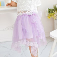 Candy Rain - Kids Lace Trim Asymmetric Hem Skirt