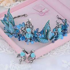 Ashmi - 新娘套裝: 花花頭飾 + 耳環