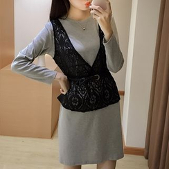 AMELA - Set: Lace Tank Top + Long Sleeve Knit Dress