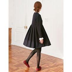 FROMBEGINNING - Contrast Pleated Empire Mini Dress