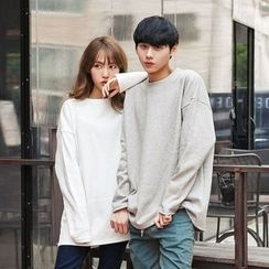 TOMONARI - Couple Brushed-Fleece Lined T-Shirt