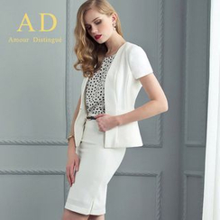 Aision - Set: Short-Sleeve Hidden-Hook Jacket + Pencil-Cut Skirt