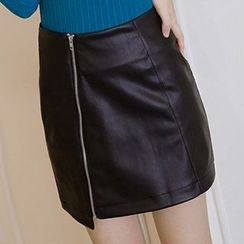 Honey House - Faux Leather Zip Skirt