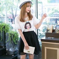 Dowisi - Set: Short-Sleeve Print T-Shirt + Lace Panel Skirt