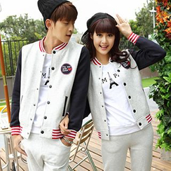 Igsoo - Couple Panel Baseball Jacket