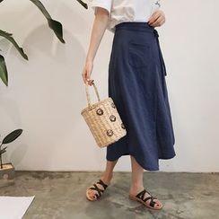 YUKISHU - Plain Midi A-Line Skirt