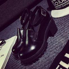 時尚麥樂 - 踝帶厚底粗跟高跟鞋