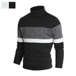 DANGOON - Turtle-Neck Herringbone Color-Block Pullover
