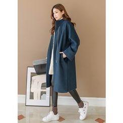 J-ANN - Zip-Up Wool Blend Coat