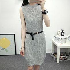 Niebla - Set: Knit Tank Dress + Open Front Chunky Long Cardigan