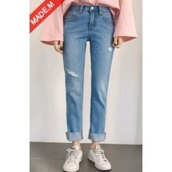 MICHYEORA - Distressed Washed Tapered Jeans