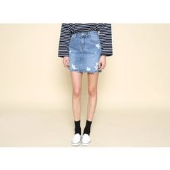 Envy Look - Distressed Denim Mini Skirt