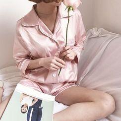 YUKISHU - 套裝: 家居服襯衫 + 短褲 + 睡眠眼罩