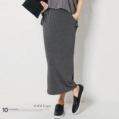 FASHION DIVA - Band-Waist Maxi Skirt