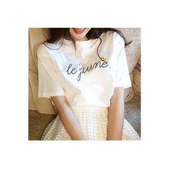 CHERRYKOKO - Smile Print Lettering T-Shirt