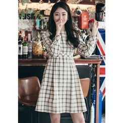 Chlo.D.Manon - Tie-Waist Plaid A-Line Dress
