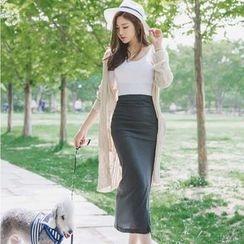 Aurora - Set: Short-Sleeve Top + Pencil Midi Skirt
