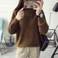 Qimi - Mock Neck Plain Sweater