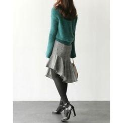 UPTOWNHOLIC - Symmetric-Hem Checked Skirt