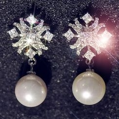 Nanazi Jewelry - Faux Pearl Rhinestone Drop Earrings