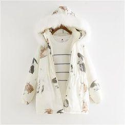 Softies - Printed Hooded Zip Padded Coat