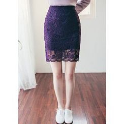 Chlo.D.Manon - Lace Mini Pencil Skirt