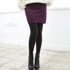 Soneed - Brushed Fleece Inset Skirt Leggings