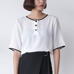 Sens Collection - Piped Short-Sleeve Chiffon Top