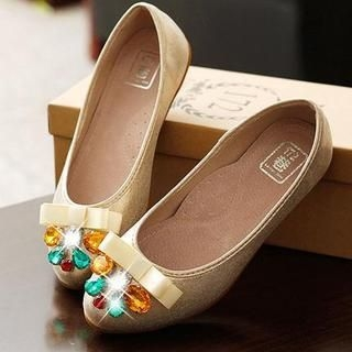 Lane172 - Bow-Accent Jeweled Flats
