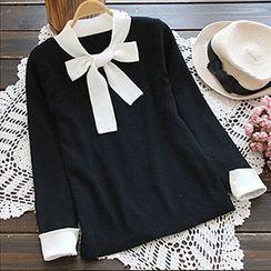 YOYO - Bow Collar Long Sleeve Knit Top