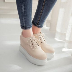 Shoes Galore - Platform Hidden Wedge Lace-Up Shoes