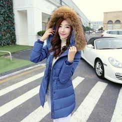 Sienne - Furry Trim Hooded Padded Coat